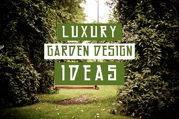 Garden with grass and trees with title text overla